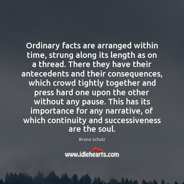 Image, Ordinary facts are arranged within time, strung along its length as on