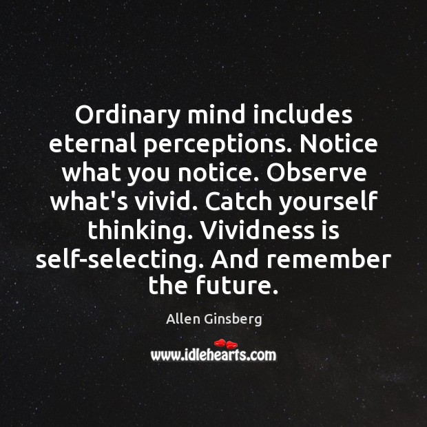 Image, Ordinary mind includes eternal perceptions. Notice what you notice. Observe what's vivid.