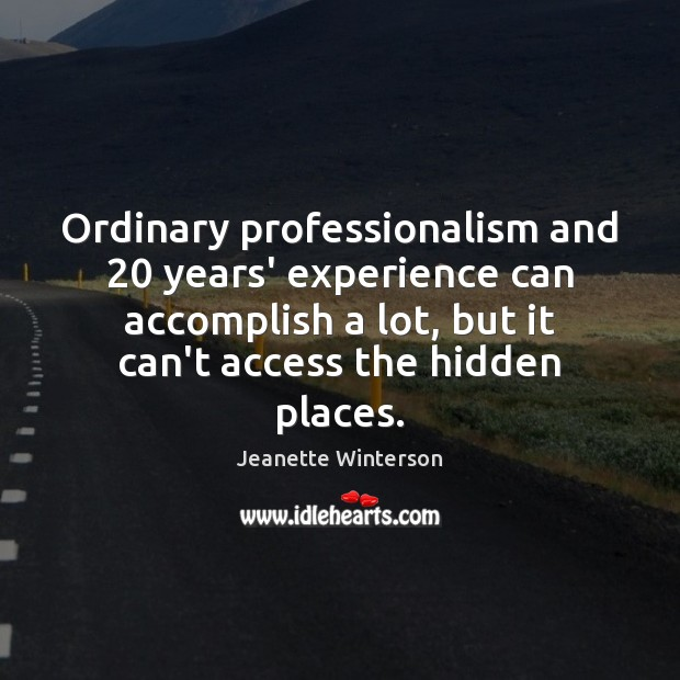 Ordinary professionalism and 20 years' experience can accomplish a lot, but it can't Jeanette Winterson Picture Quote