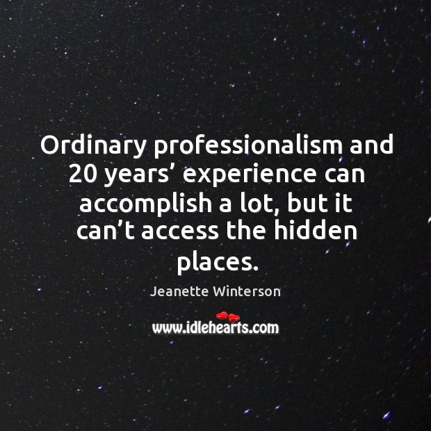 Ordinary professionalism and 20 years' experience can accomplish a lot Image