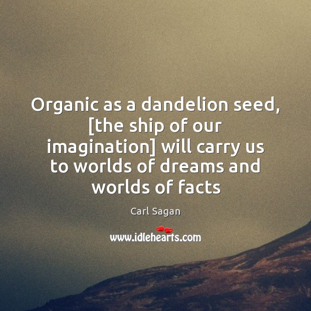 Image, Organic as a dandelion seed, [the ship of our imagination] will carry