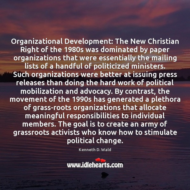 Image, Organizational Development: The New Christian Right of the 1980s was dominated by