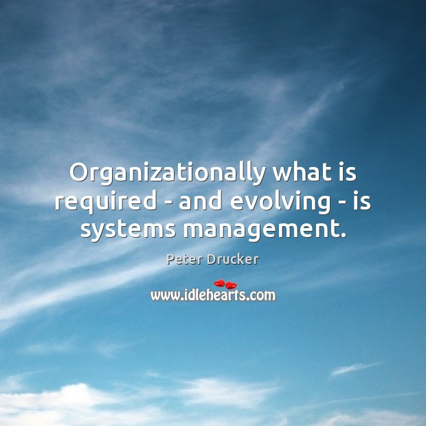 Organizationally what is required – and evolving – is systems management. Image