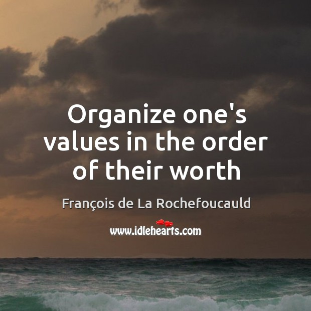 Image, Organize one's values in the order of their worth