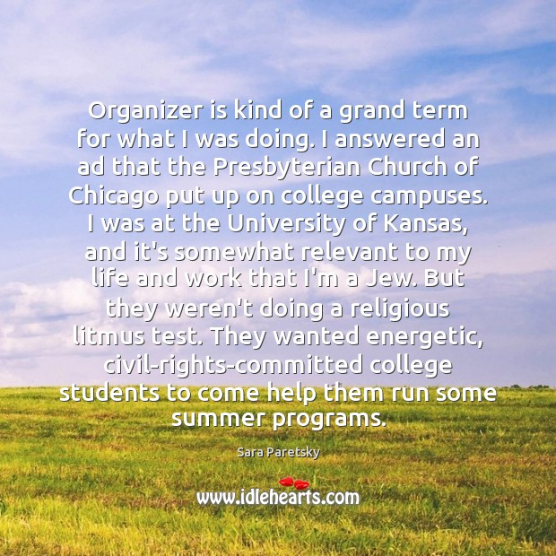 Organizer is kind of a grand term for what I was doing. Image