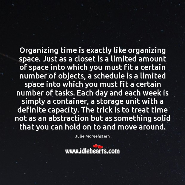 Organizing time is exactly like organizing space. Just as a closet is Image