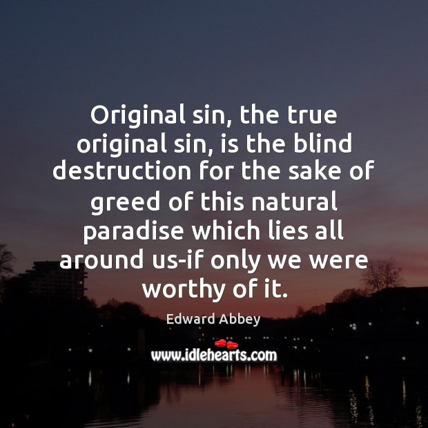 Original sin, the true original sin, is the blind destruction for the Image