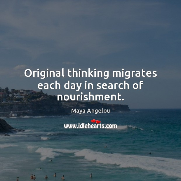 Image, Original thinking migrates each day in search of nourishment.