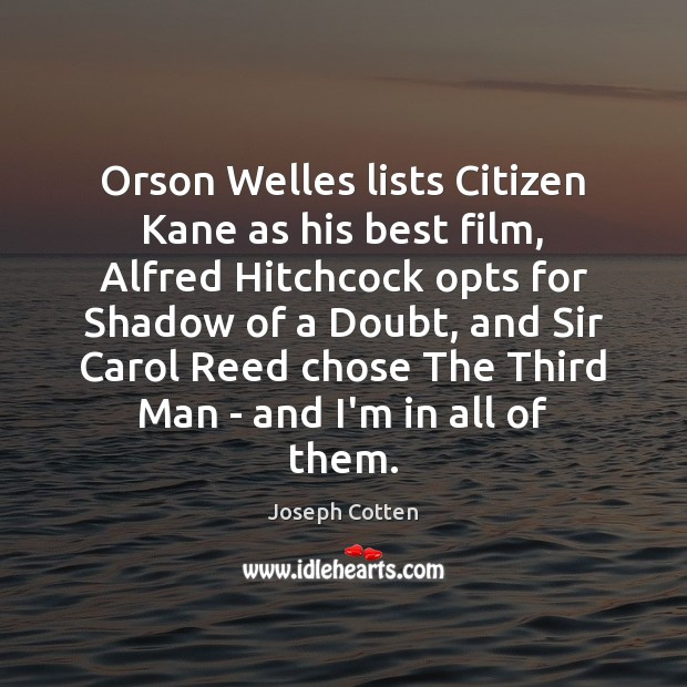 Orson Welles lists Citizen Kane as his best film, Alfred Hitchcock opts Image