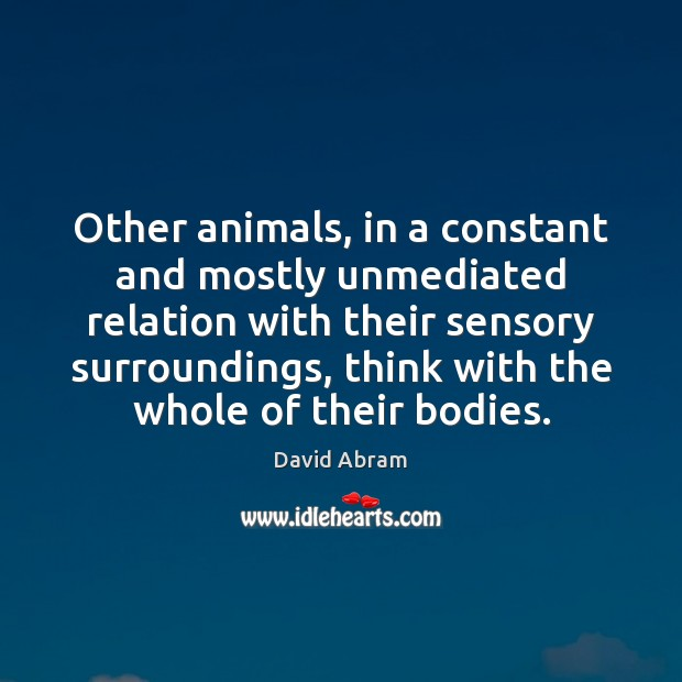 Other animals, in a constant and mostly unmediated relation with their sensory David Abram Picture Quote