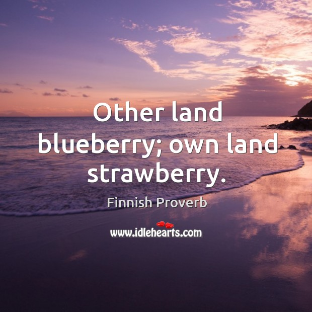 Other land blueberry; own land strawberry. Finnish Proverbs Image