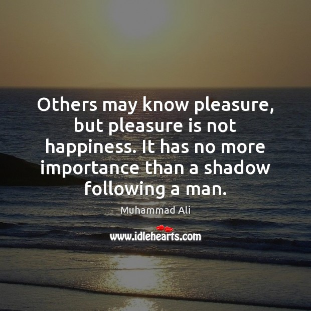 Image, Others may know pleasure, but pleasure is not happiness. It has no