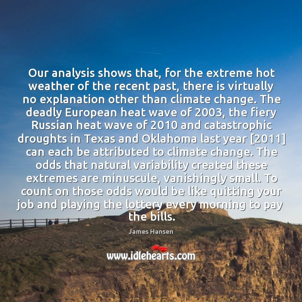 Our analysis shows that, for the extreme hot weather of the recent James Hansen Picture Quote