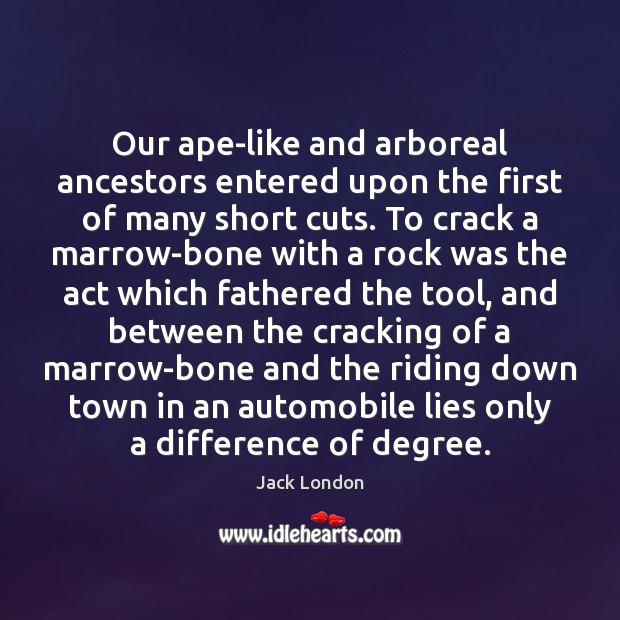 Our ape-like and arboreal ancestors entered upon the first of many short Jack London Picture Quote