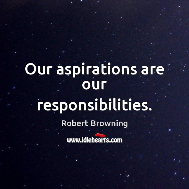Our aspirations are our responsibilities. Robert Browning Picture Quote