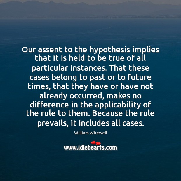 Our assent to the hypothesis implies that it is held to be William Whewell Picture Quote