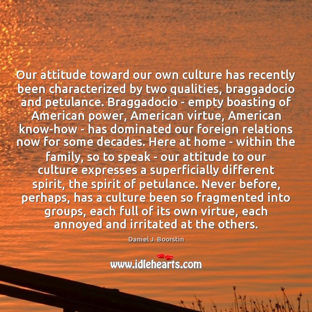 Image, Our attitude toward our own culture has recently been characterized by two