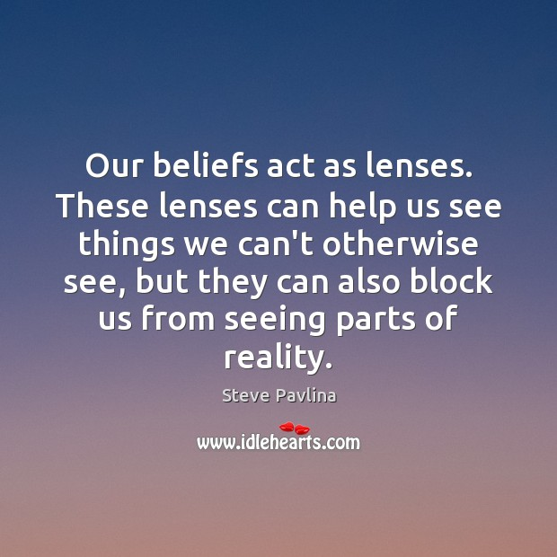 Our beliefs act as lenses. These lenses can help us see things Image