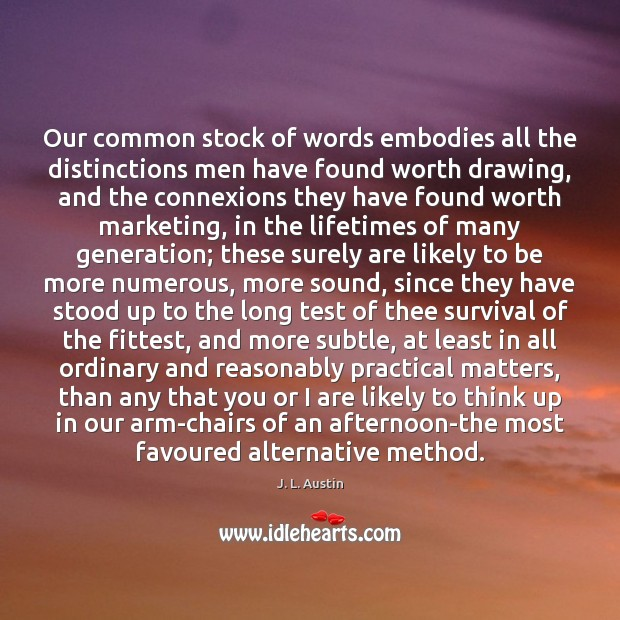 Our common stock of words embodies all the distinctions men have found J. L. Austin Picture Quote