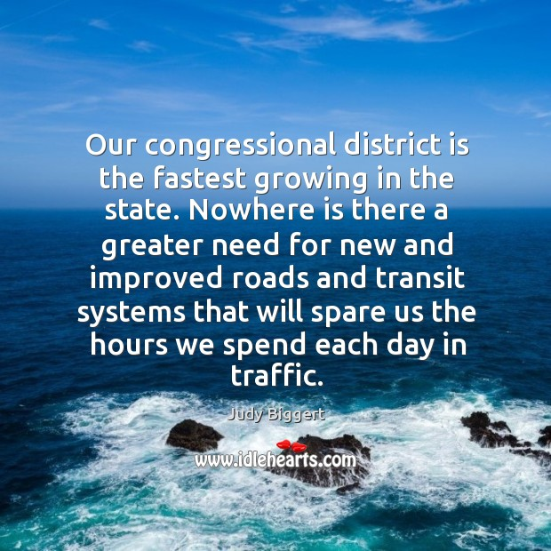 Our congressional district is the fastest growing in the state. Image