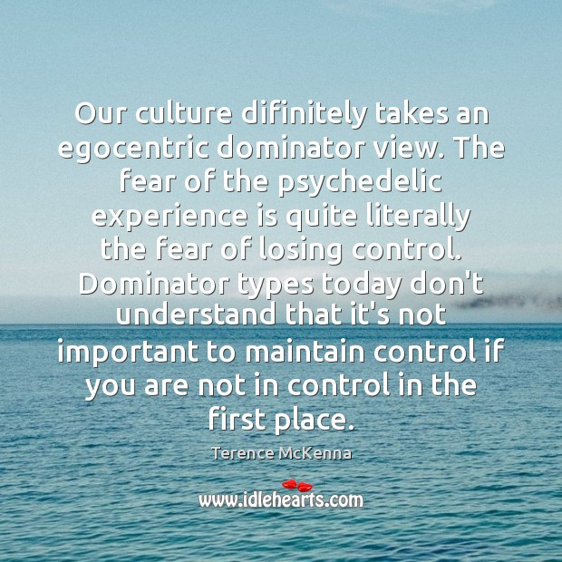 Our culture difinitely takes an egocentric dominator view. The fear of the Image