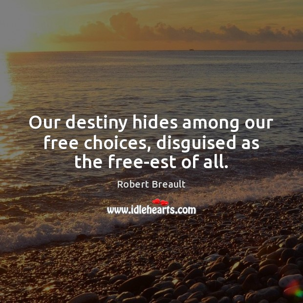 Image, Our destiny hides among our free choices, disguised as the free-est of all.