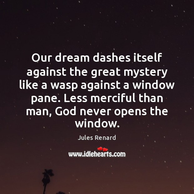 Our dream dashes itself against the great mystery like a wasp against Jules Renard Picture Quote