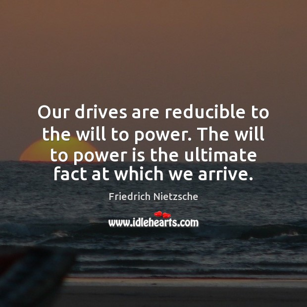 Our drives are reducible to the will to power. The will to Image