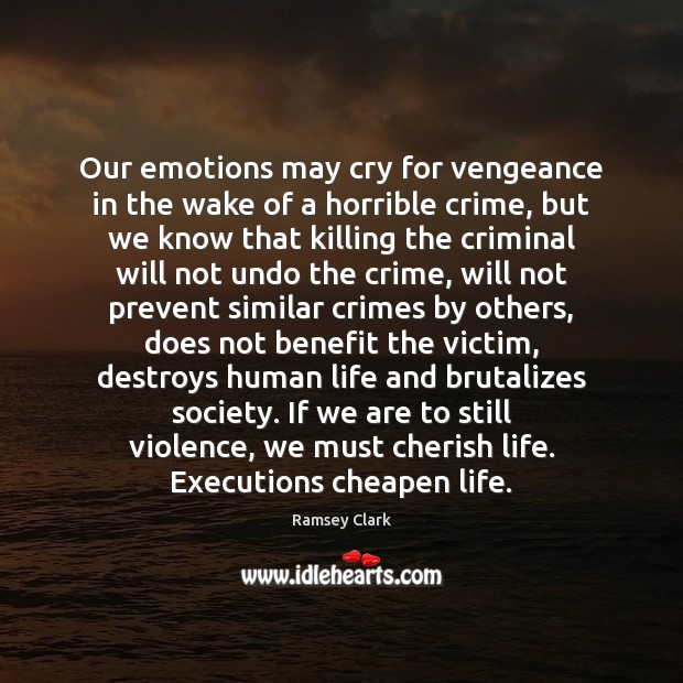 Image, Our emotions may cry for vengeance in the wake of a horrible