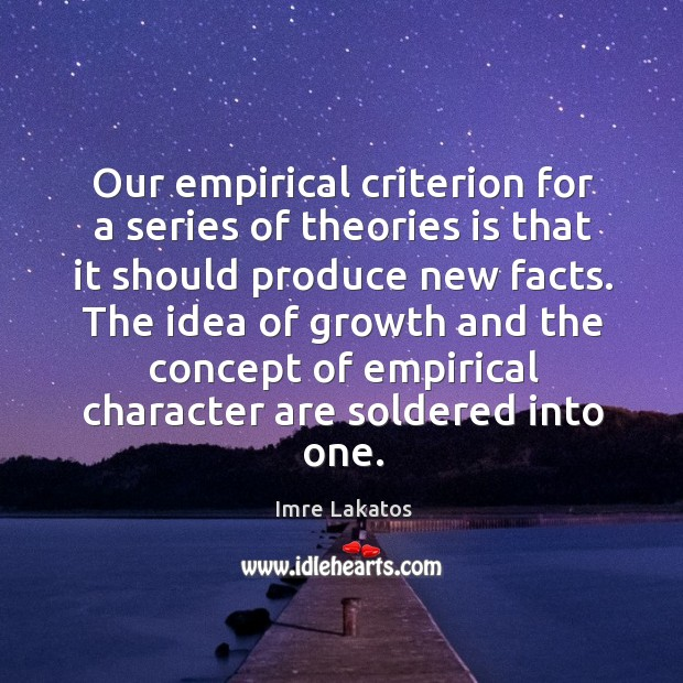 Our empirical criterion for a series of theories is that it should produce new facts. Image