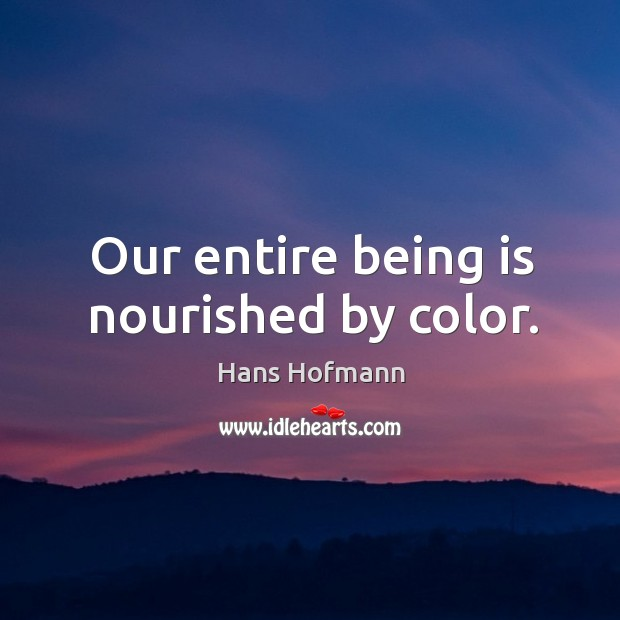 Our entire being is nourished by color. Hans Hofmann Picture Quote