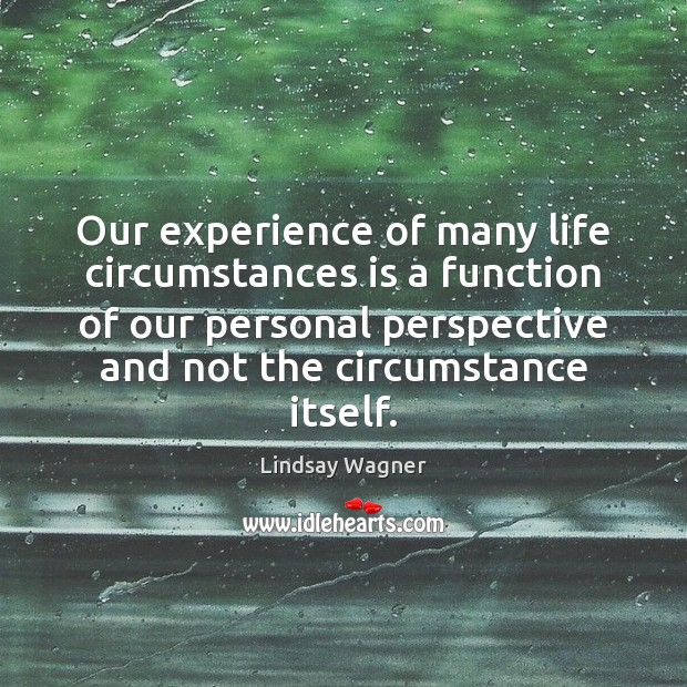 Our experience of many life circumstances is a function of our personal Image