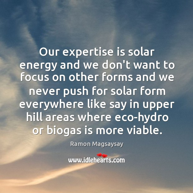 Image, Our expertise is solar energy and we don't want to focus on