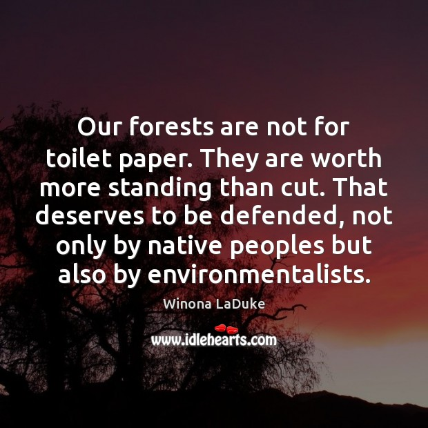 Image, Our forests are not for toilet paper. They are worth more standing