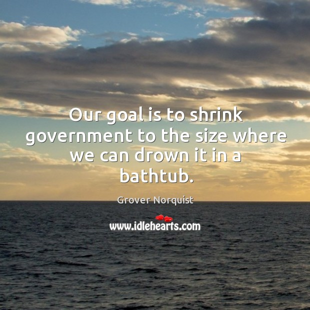 Our goal is to shrink government to the size where we can drown it in a bathtub. Grover Norquist Picture Quote