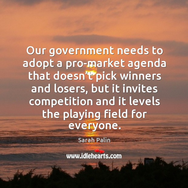 Our government needs to adopt a pro-market agenda that doesn't pick winners and losers Image