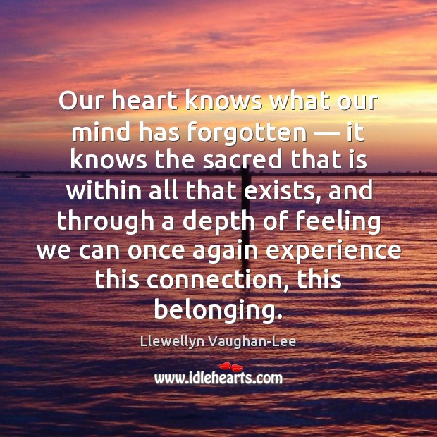 Our heart knows what our mind has forgotten — it knows the sacred Llewellyn Vaughan-Lee Picture Quote