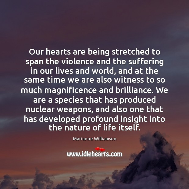 Our hearts are being stretched to span the violence and the suffering Image