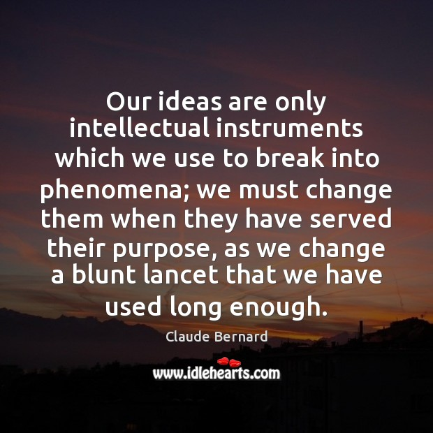 Our ideas are only intellectual instruments which we use to break into Image