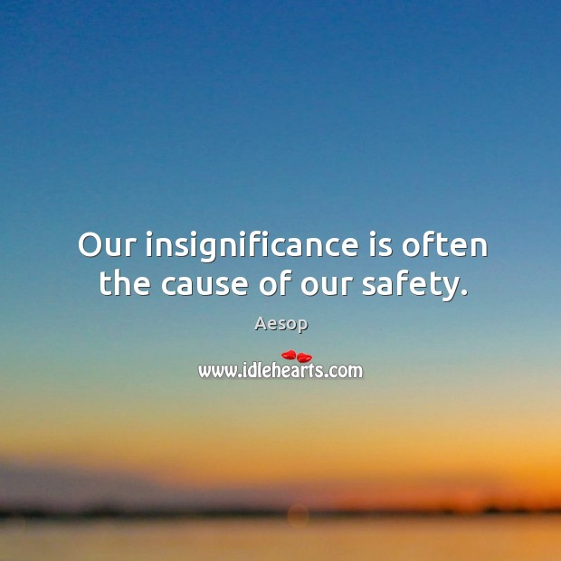 Image, Our insignificance is often the cause of our safety.