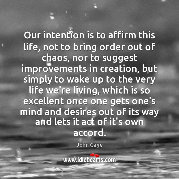 Image, Our intention is to affirm this life, not to bring order out