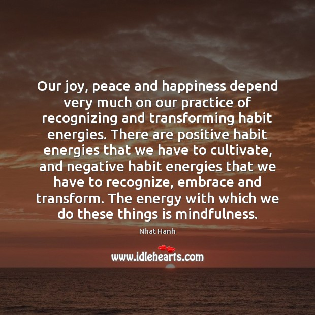 Image, Our joy, peace and happiness depend very much on our practice of