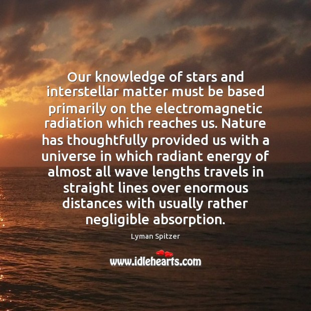 Image, Our knowledge of stars and interstellar matter must be based primarily on