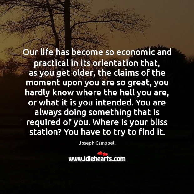 Our life has become so economic and practical in its orientation that, Image