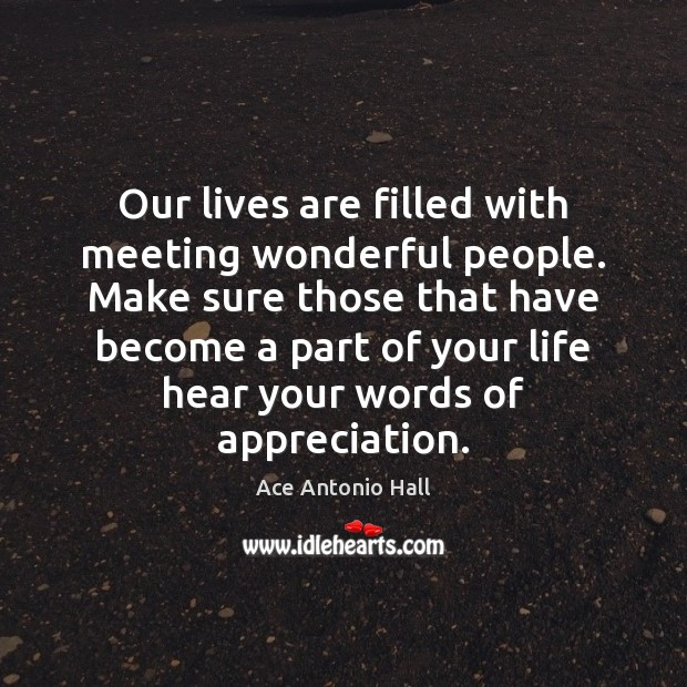 Our lives are filled with meeting wonderful people. Make sure those that Ace Antonio Hall Picture Quote