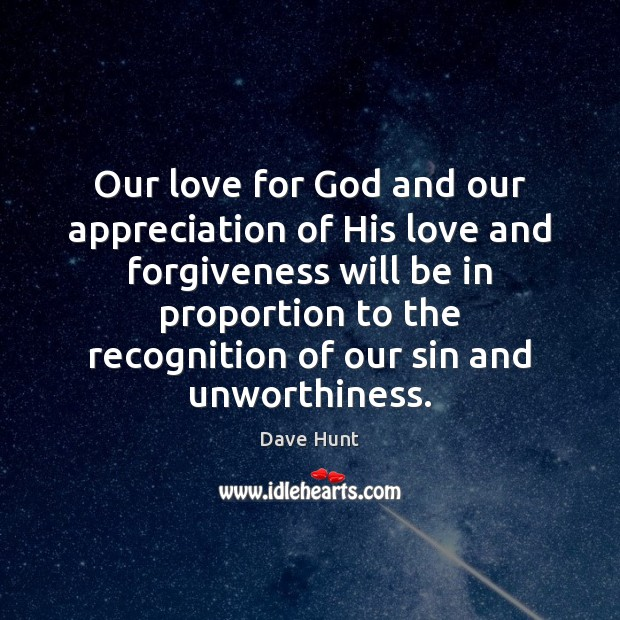 Our love for God and our appreciation of His love and forgiveness Image
