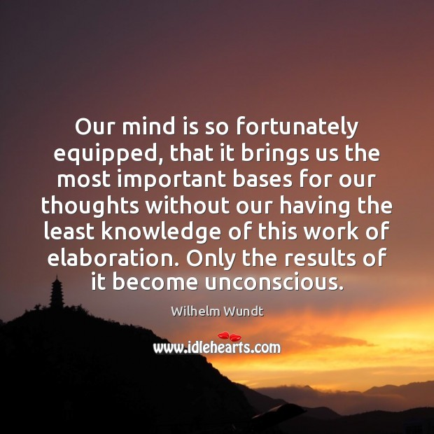Our mind is so fortunately equipped, that it brings us the most Wilhelm Wundt Picture Quote