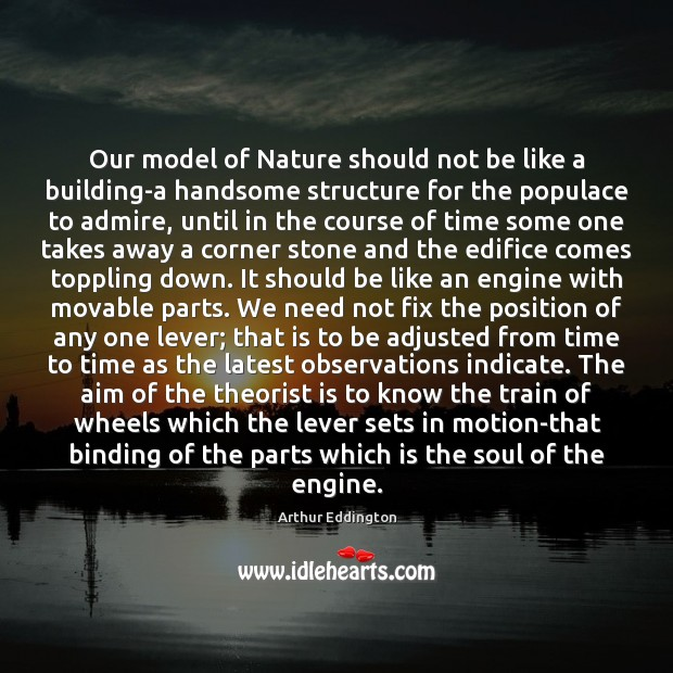 Our model of Nature should not be like a building-a handsome structure Arthur Eddington Picture Quote