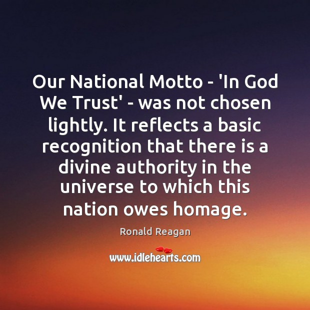 Image, Our National Motto – 'In God We Trust' – was not chosen
