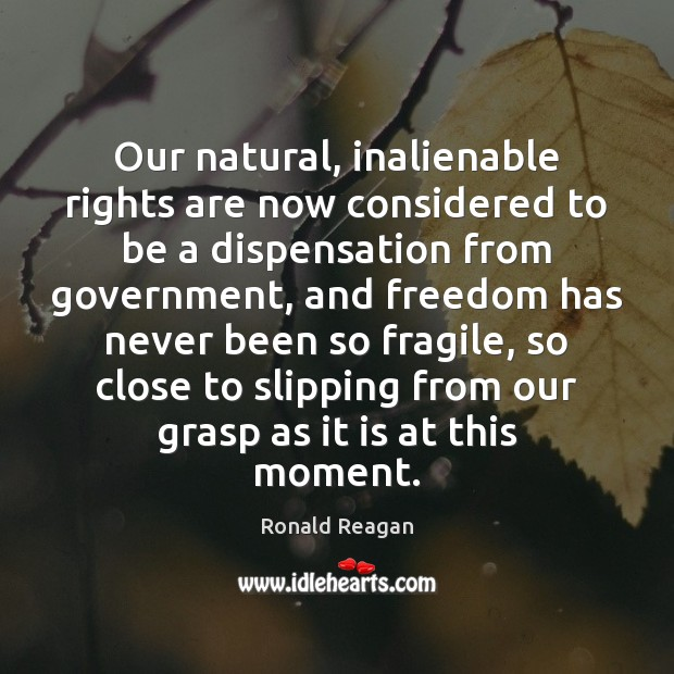 Image, Our natural, inalienable rights are now considered to be a dispensation from